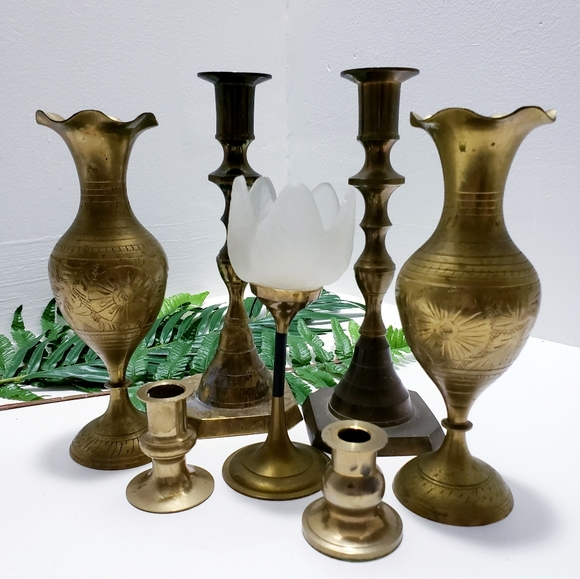 Vintage large brass lot•Candle holders•India